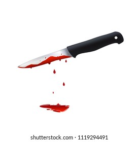 Kitchen knife. Murder weapon. Crime and murder. Knife in blood