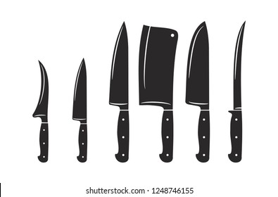 Kitchen knives vector icon set