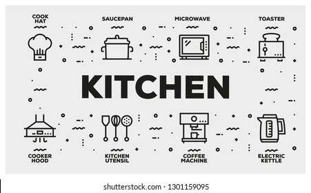 KITCHEN LINE ICON SET
