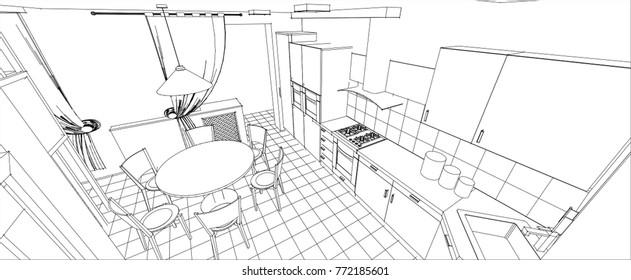 kitchen, living room, interior, sketch, 3d illustration