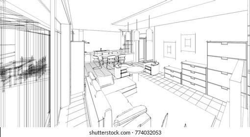 Kitchen And Living Room Interior, Sketch, 3d Illustration
