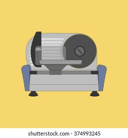 Kitchen Meat Slicer on the yellow background. Vector illustration