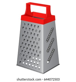 Kitchen metallic tetrahedral grater with a plastic handle on top, isolated on a white background