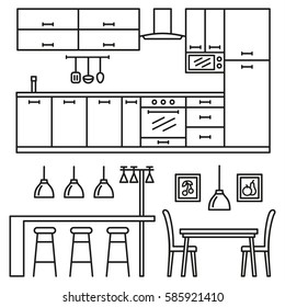 Kitchen modern furniture icons. Home comfortable interior in line style vector