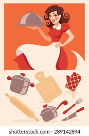 kitchen objects and cartoon housewife