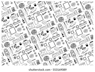 KITCHEN OBJECTS PATTERN. Editable and repeatable vector illustration file. Can use for branding projects, print decoration etc.