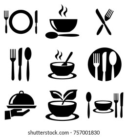 kitchen plates set icons