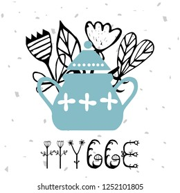 Kitchen Poster. cooking utensil with phrase hygge. Scandinavian style. Vector clipart. Good for print.