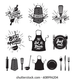 Kitchen prints set. Quotes and funny sayings about food cooking. Monochrome kitchenware objects set. Restaurant advertising posters collection. Vector vintage illustration.
