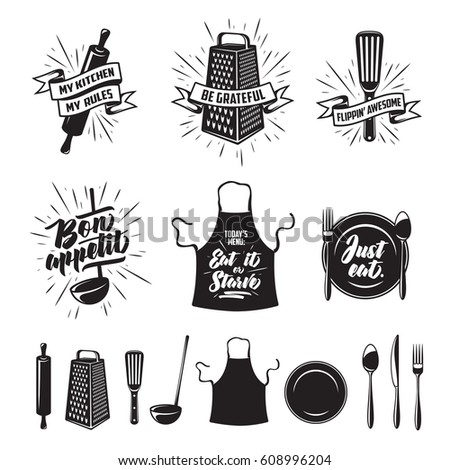 kitchen prints set quotes and funny sayings about food cooking monochrome kitchenware objects set - Kitchen Sayings