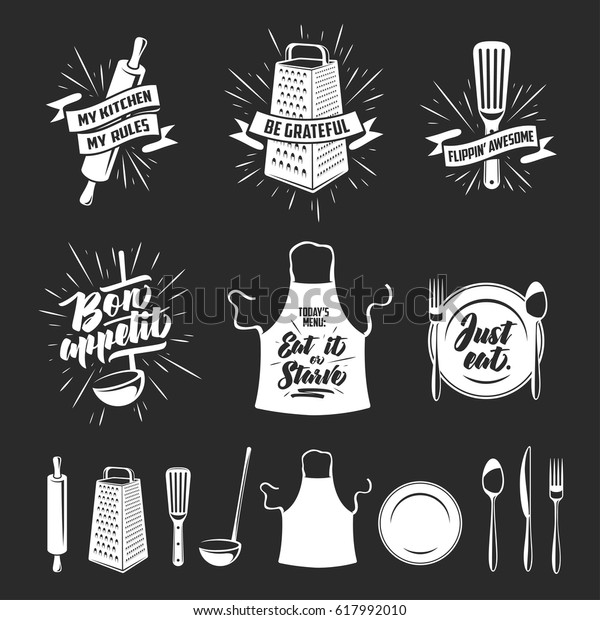 Kitchen Prints Set Quotes Funny Sayings Stock Vector ...