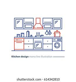 Kitchen project, design blueprint, combination idea, home furniture, arrangement plan, vector line illustration
