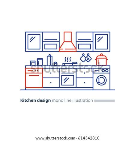 Kitchen Project Design Blueprint Combination Idea Stock Vector
