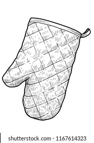 Kitchen protective oven glove illustration, drawing, engraving, ink, line art, vector