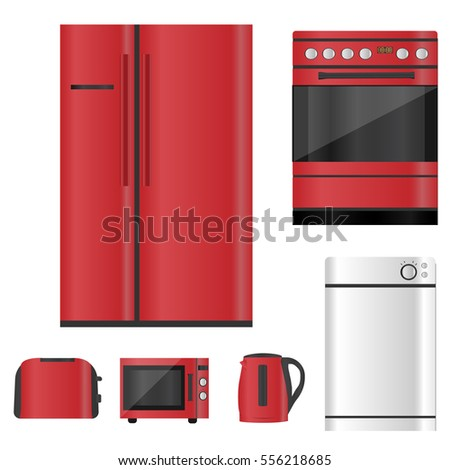 Kitchen Red Appliances Set Stock Vector Royalty Free 556218685