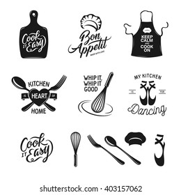 Kitchen related typography set. Quotes about cooking. Cook it easy. Bon appetit. Whip it good. My kitchen is for dancing. Vintage vector illustration.