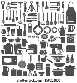 Kitchen related utensils and appliances silhouette icons vector set