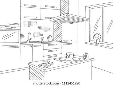 Kitchen room graphic black white home interior sketch illustration vector