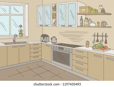 Kitchen room graphic color home interior sketch illustration vector