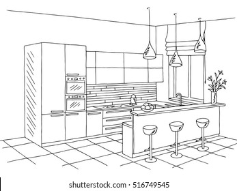 stock vector sketch modern kitchen plan with island single point perspective line drawing kitchen project interior design  d vector illustration on white background module system further cabi  door designs additionally sketch hand drawing kitchen interior plan as well kitchen sketch further  on stock vector sketch modern kitchen plan with island single point perspective line drawing