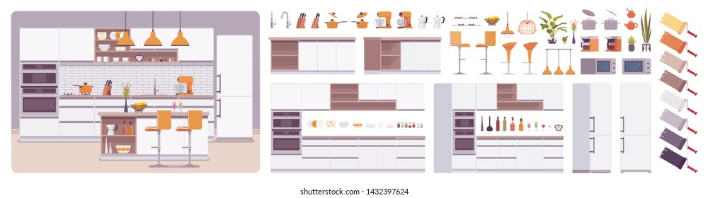 Kitchen room interior, home creation set, eating area, food preparation kit with furniture, constructor elements to build your own design. Cartoon flat style infographic illustration, color palette