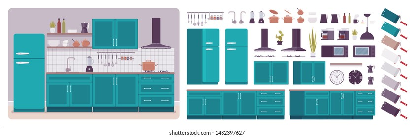 Kitchen room interior, home creation set, ultramarine cabinet, vent hood, kit with furniture, constructor elements to build your own design. Cartoon flat style infographic illustration, color palette