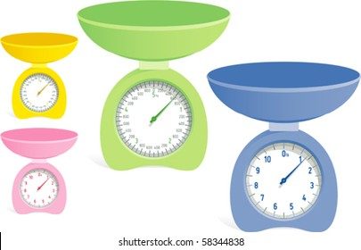 """Kitchen Scales (kilo and pound) - Kitchen balance (green blue yellow pink) isolated on white. Vector illustration. Suitable for internet, advertising, editorial graphics. See others on """"Objects"""" set."""