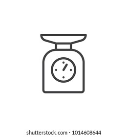 Kitchen scales line icon, outline vector sign, linear style pictogram isolated on white. Scale symbol, logo illustration. Editable stroke