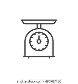Kitchen Scales line icon, outline vector sign, linear pictogram isolated on white. logo illustration