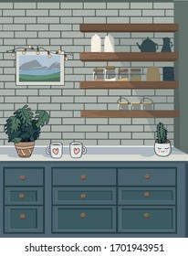 Kitchen with a set of furniture, shelves and utensils. Vector illustration of a flat plane style.
