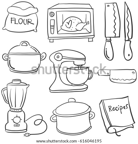 Kitchen Set Hand Draw Cartoon Doodles Stock Vector Royalty Free