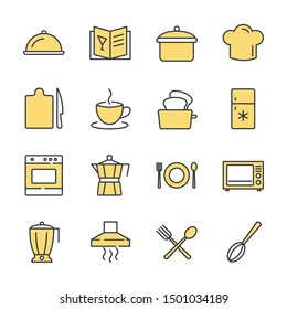 Kitchen set icon template color editable. Kitchen pack warning symbol vector sign isolated on white background illustration for graphic and web design.