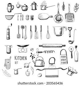 Kitchen set. Large collection of hand - drawn  kitchen related objects on white background.