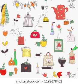 Kitchen set seamless pattern with cups, plates, food, utensils, flowers and pictures. Vector graphic illustration