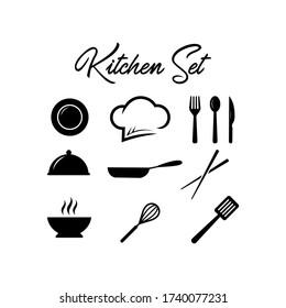 Kitchen Set vector Knife Chopsticks Pan Fork Plate Chef`s Hat Logo Design