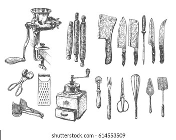 Kitchen set. Vector large collection hand drawn illustration with kitchen tools. Utensil and cooking. Kitchenware sketch. Retro engraving style
