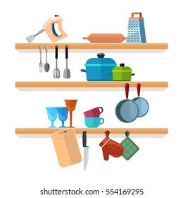 Kitchen shelves with cooking tools and hanging pots vector illustration. Interior of kitchen shelf, utensil and equipment for kitchen.