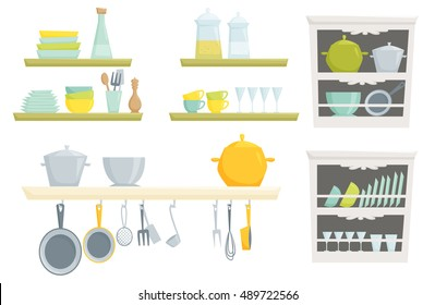 Kitchen shelves and cupboard with  kitchenware and utensil for house, cafe, restoran, home interior design.