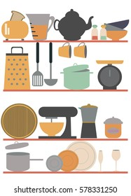 Kitchen shelves with tableware. Vector illustration