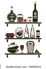Kitchen Shelves Wall Sticker vector illustration