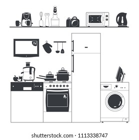 Kitchen silhouette appliances. Washing machine, coffee maker. Pots and fridge. Shelf with electrical appliances. Kitchen set for infographics. Black and white isolated