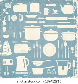 Kitchen silhouette set, eps10 vector pattern.