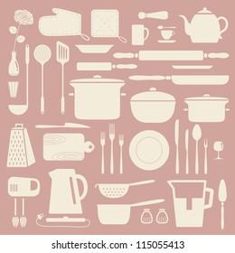 Kitchen silhouette set, vector pattern.