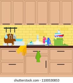 Kitchen sink. Crane in the kitchen. Vector flat illustration.