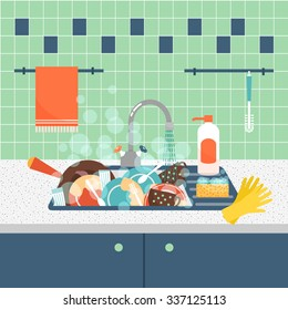 Kitchen sink with dirty kitchenware and dishes. Mess and sink, dirty and kitchenware, wash sponge. Vector illustration