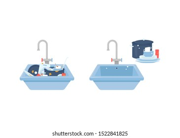 Kitchen sink filled with dirty dishes before and after cleaning, washed plates and cups standing beside sparkly clean sink, kitchenware comparison - isolated flat vector illustration