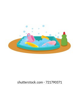 Kitchen sink with soap water, dishes and dishwashing liquid bottle, cartoon vector illustration isolated on white background. Cartoon kitchen sink full of dishes and soap water, dishwashing