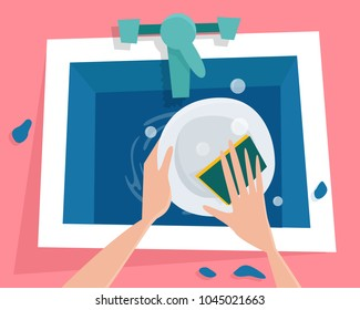 Kitchen sink with water. Hands wash the plate. Flat cartoon style vector illustration.