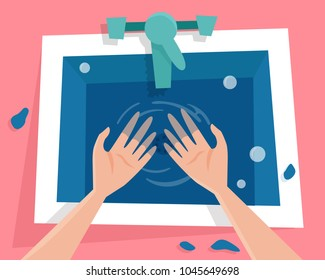 Kitchen sink with water and wet hands. Flat cartoon style vector illustration.
