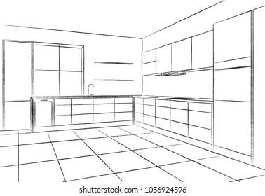 Interior Sketch Modern Kitchen Hand Drawing Stock Vector Royalty